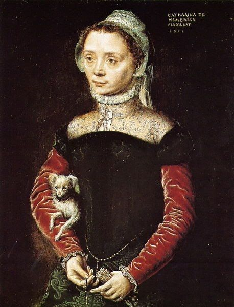 ⍕ Paintings of People & Pets ⍕ Caterina van Hemessen | Portrait of a Woman with a Dog, 1551: