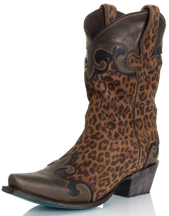 Lane Womens Short Shaft Leopard Print Cowgirl Boots - Dakota $360.00