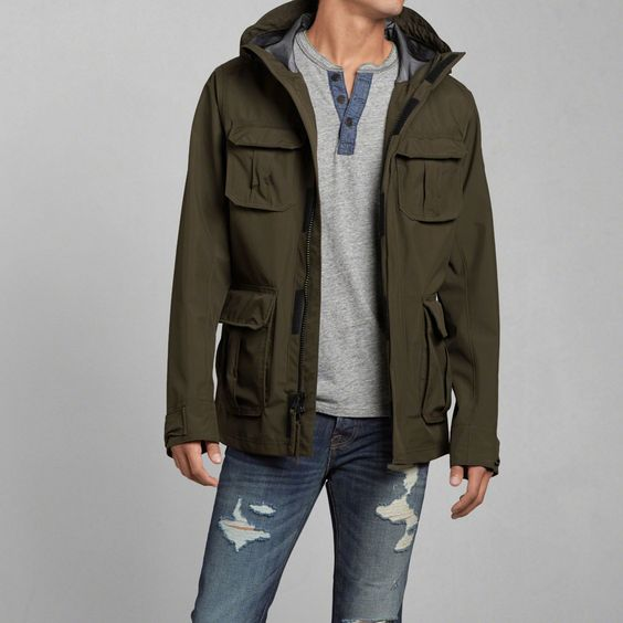 Mens Lightweight Cargo Rain Jacket | Mens Outerwear &amp Jackets