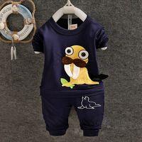Bebê roupas + calças de algodão de manga comprida camisa dos desenhos animados T de golfinhos de presente do bebê