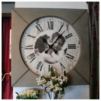 horloge anges d co bois mathilde m d co anges romantique clocks pinterest promotion. Black Bedroom Furniture Sets. Home Design Ideas
