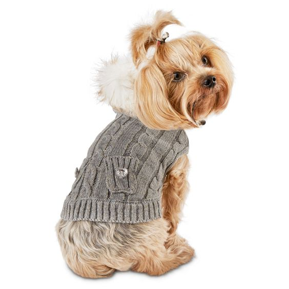 Smoochie Pooch Gray Cable Fur Hood Dog Sweater - Smoochie Pooch Heather Gray Cable Faux Fur Hood Dog Sweater! Beautiful sweater that will let her show her sassy side - http://www.petco.com/shop/en/petcostore/smoochie-pooch-gray-cable-fur-hood-dog-sweater