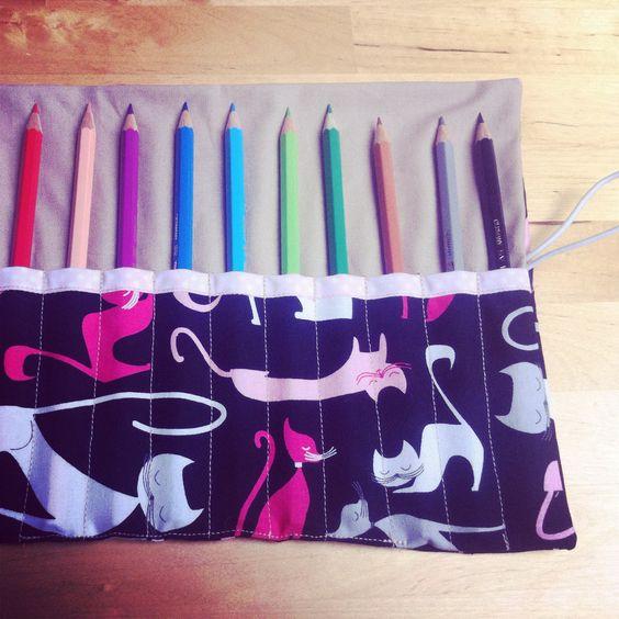 Stifterolle #DIY #Katze #nähen #baumwolle #stifte #mäppchen
