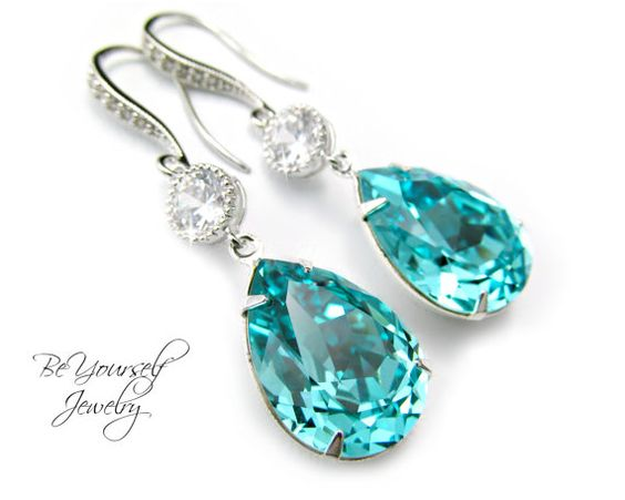 Hey, I found this really awesome Etsy listing at https://www.etsy.com/listing/112912787/teal-blue-earrings-swarovski-crystal