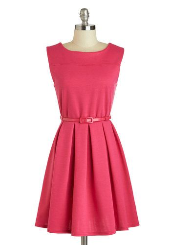 'Tis a Shift to Be Simple Dress in Haute Pink, #ModCloth