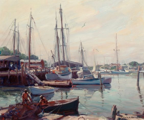 """""""Morning, Smith Cove, Gloucester,"""" Emile Albert Gruppe, oil on canvas, 25 x 30"""", The Granary Gallery."""