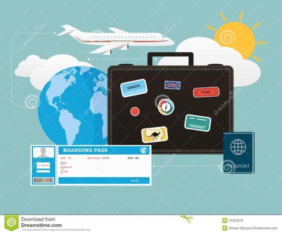 Los Iconos Fijaron De Viajar, De Objetos Del Turismo Y De Viaje En El Diseño…