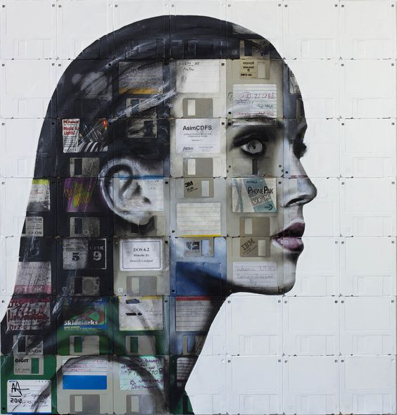 PROFILE NUMBER 5  2012  Oil and used computer disks on wood  65cm x 63cm