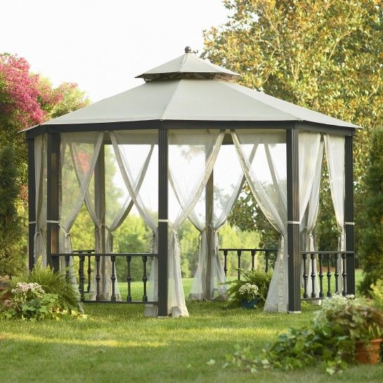 Exterior Cozy Gazebo With White Roof Tile And Black Wooden Poles Also White Fabric Curtains Plus