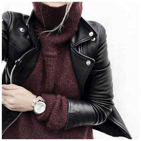 leather jacket and turtle neck: