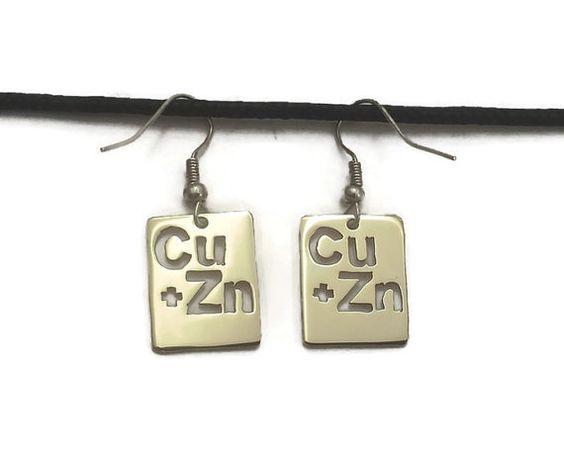 Brass Periodic Table Fish Hook Dangle Earrings by LeakyCrucible
