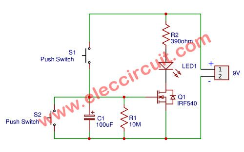 Simple Time Delay Circuit Using Mosfet Eleccircuit Com Circuit Dc Circuit Electronics Projects