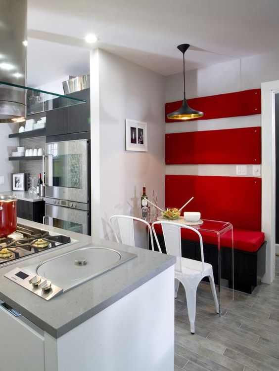 Kitchen Cousins: Red banquette.