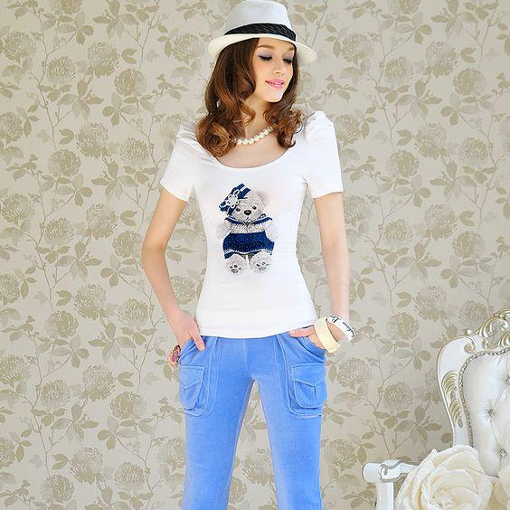 Womens summer Slim fit Round Collar Short Puff Sleeve White Tshirt