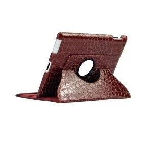 360 Degree Rotating Crocodile Skin Leather Case for iPad 3/The New iPad - Brown