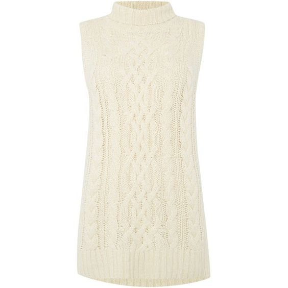 Polo Ralph Lauren Sleeveless aran knit ($320) ❤ liked on Polyvore featuring tops, cream, women, polo ralph lauren, white sleeveless top, sleeveless polo tops, white top and cream top