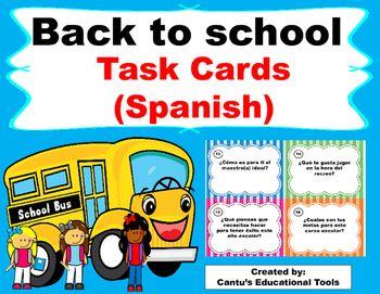 Back to School Task Cards in Spanish:  Este producto consiste de 36 tarjetas para que los estudiantes se conozcan entre si los…