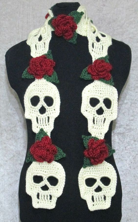 Knitting Pattern Skull Scarf : This lovely scarf is handmade with skull and rose motifs, perfect for Day of ...