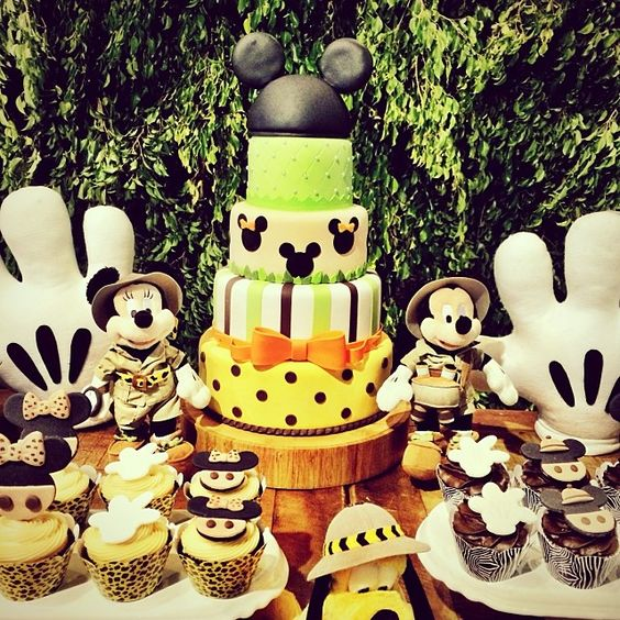 Festa infantil disney safari mesa bolo mickey festa - Mesas infantiles disney ...