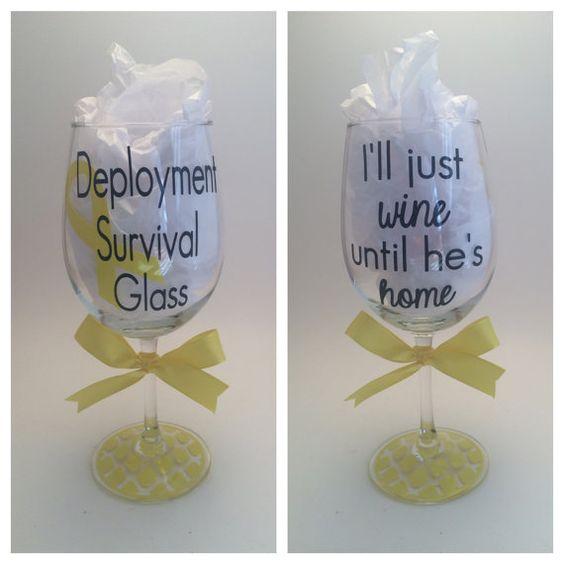 Deployment Survival Glass Wine Glass by PrettyLittleVinyls on Etsy