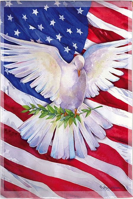 PATRIOTIC PEACE DOVE Evergreen Decorative Garden Flag To Be An