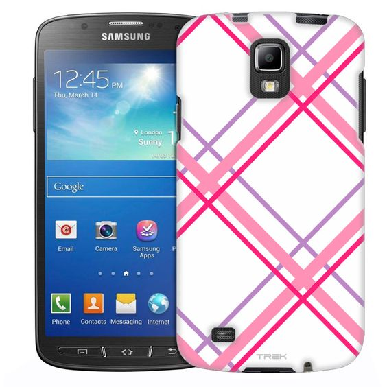 Samsung Galaxy S4 Active Pink Black Tartan Plaid on Black Slim Case