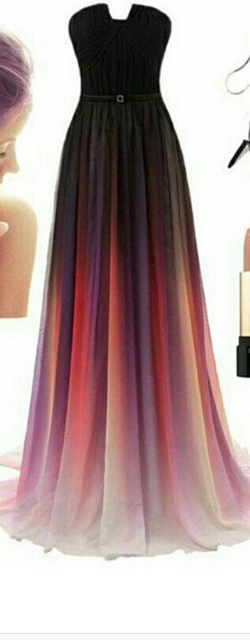 Gradient Prom Dress,Ombre Evening D