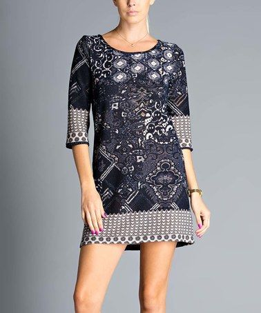 This Navy Geometric Scoop Neck Dress is perfect! #zulilyfinds