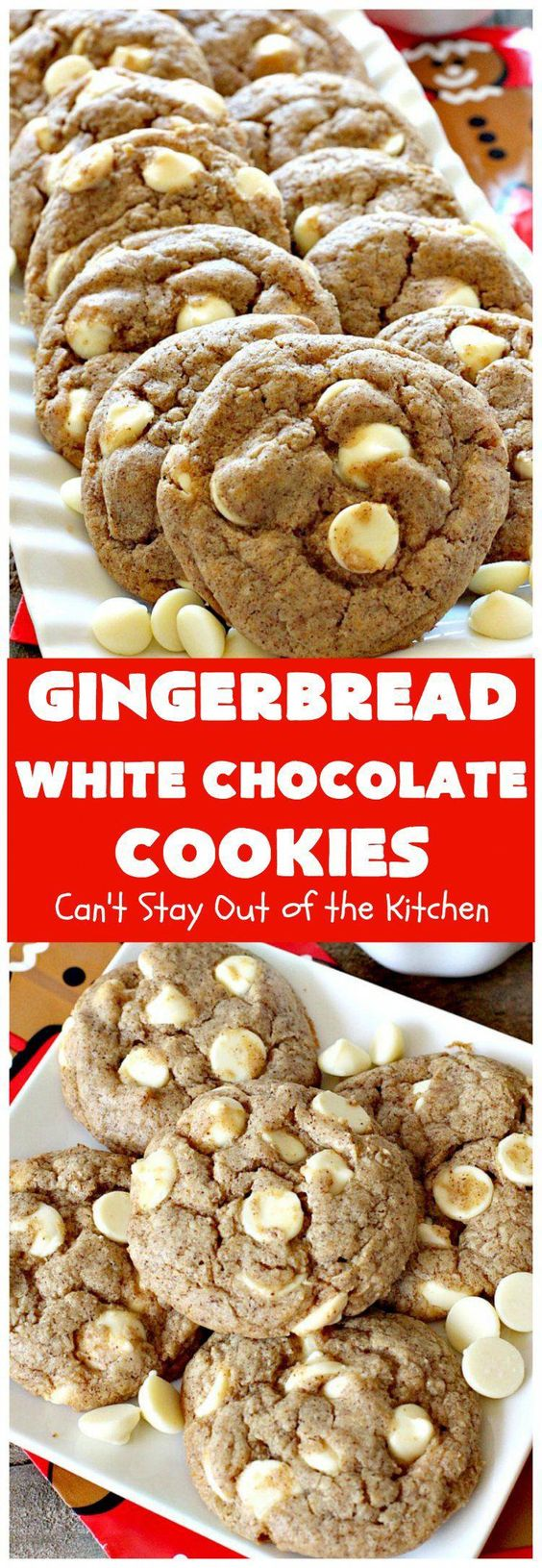 Gingerbread White Chocolate Cookies | This incredibly easy 5-ingredient cookie recipe is heavenly. It's terrific for holiday baking, Christmas cookie exchanges & office parties. #christmascookies