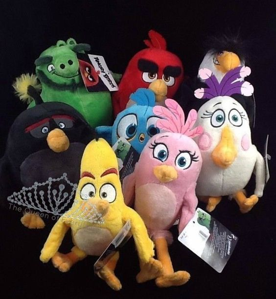 Angry Birds Plush Set 8 Red Chuck Leonard Mighty Eagle Bomb Matilda Stella 1 Angry Birds