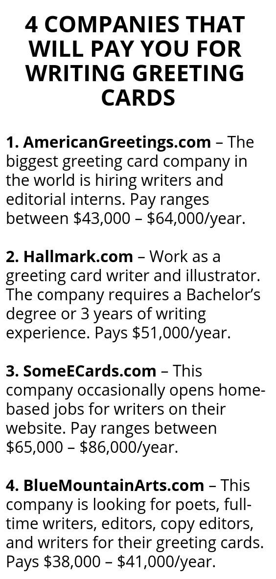 4 Companies That Will Pay You For Writing Greeting Cards Writing Jobs Greeting Card Companies Money Making Hacks