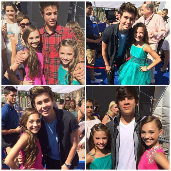 Maddie Ziegler and Mackenzie Ziegler meeting Cameron Dallas, Nash Grier and Hayes Grier at the Teen Choice Awards 2014!!! Follow my account: http://www.pinterest.com/mnzfandom/