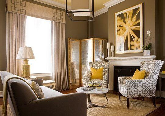 Yellow grey \u003c3 Living room ideas Pinterest Gelb, Grau und - wohnzimmer ideen braune couch