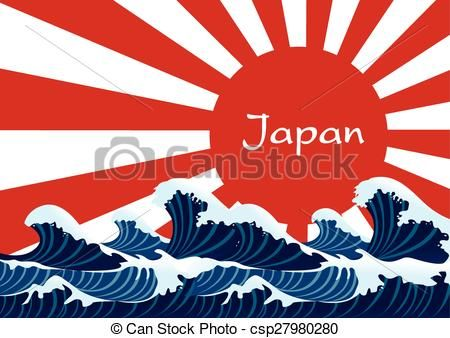 Vector - Japanese wave with japan red flag - stock illustration, royalty free illustrations, stock clip art icon, stock clipart icons, logo, line art, EPS picture, pictures, graphic, graphics, drawing, drawings, vector image, artwork, EPS vector art