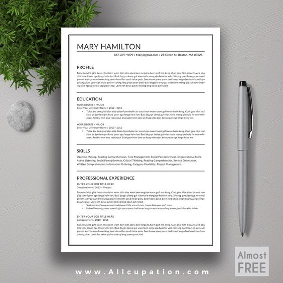 allcupation FREE Professional Resume Template, CV Template, 1, 2