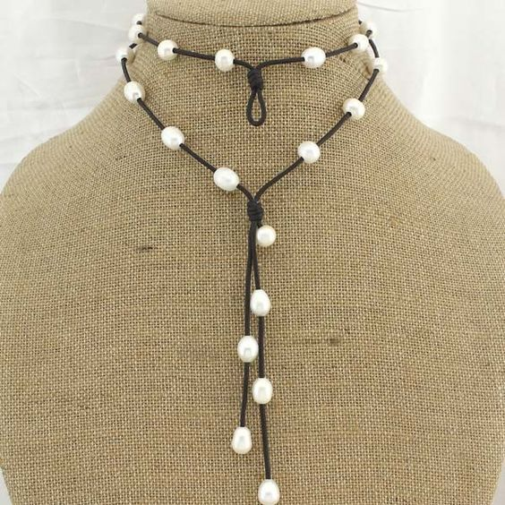 9-10 MM Potato&Rice White Pearl 2.5 mm Hole Leather Handmade Fashion Necklace ETS-S534 - Leather&Pearl Necklace - Pearl Necklace