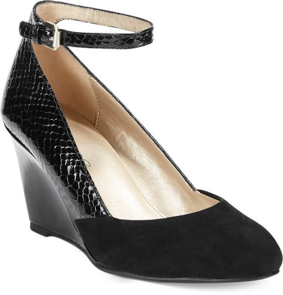 Bandolino Topical Ankle Strap Wedge Pumps