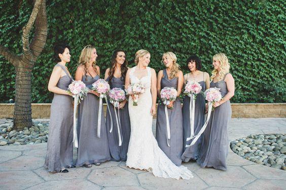 Santa Barbara Wedding With A Metallic Gold Cake Grey Bridesmaid Dresses And Gray Bridesmaids