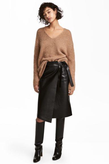 Кожаная юбка - Черный - Женщины | H&M RU 1