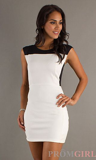 Short White and Black Dress at PromGirl.com