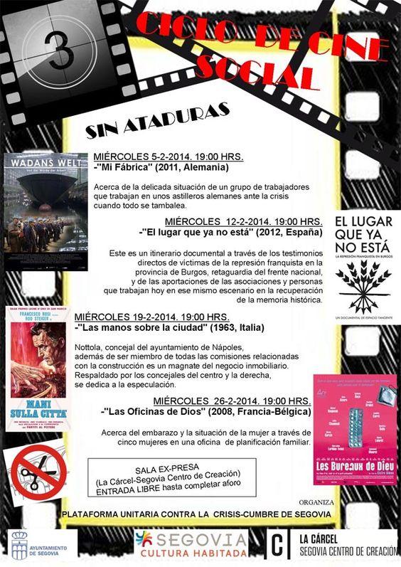 """""""Cine Social sin ataduras"""" en la Sala de la Cárcel de Segovia, los miércoles de febrero http://revcyl.com/www/index.php/cultura-y-turismo/item/2667-cine-social-sin-ataduras-en-la-sala-de-la-c%C3%A1rcel-de-segovia-los-mi%C3%A9rcoles-de-febrero"""