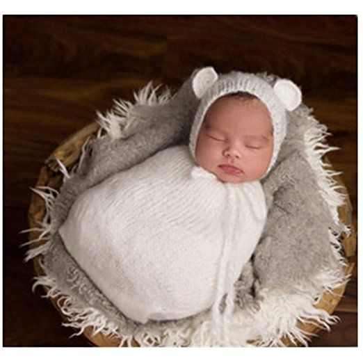 Fashion Newborn Boy Girl Baby Costume Knitted Photography Props Hat Sleeping Bag