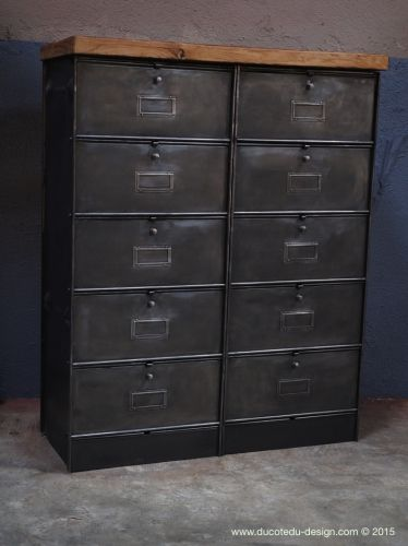ancien meuble 10 casiers industriel a clapet roneo hauts et bois. Black Bedroom Furniture Sets. Home Design Ideas