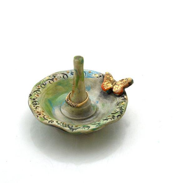 ringholder ceramic ring holder jewelry holder by SheHasWings