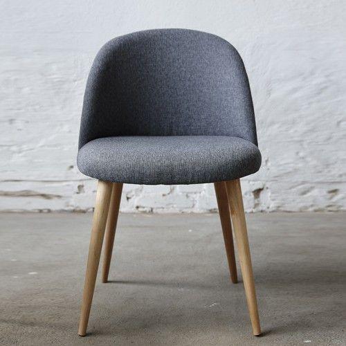 chaise en ch ne et tissu bleu h bsch salle a manger. Black Bedroom Furniture Sets. Home Design Ideas