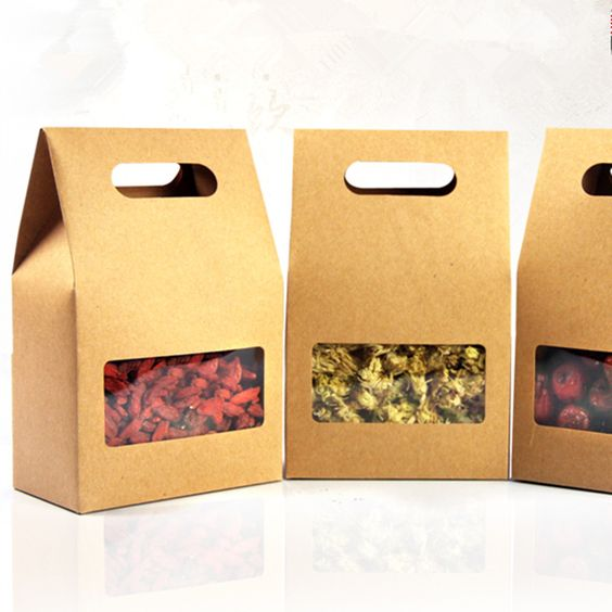 10.5*15+6cm Kraft Paper Tote Bag Gift Packing Box With Handle Clear Square…