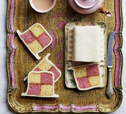 Easiest-ever Battenberg cake multi-colored marzipan almond apricot vanilla easy party birthday tea time