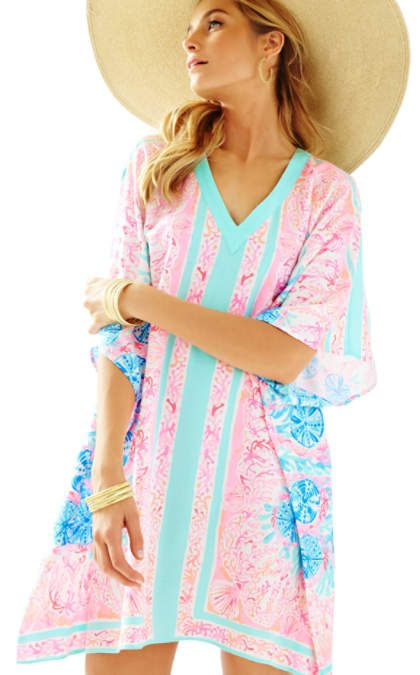 light pink v-neck caftan dress - Lilly Pulitzer