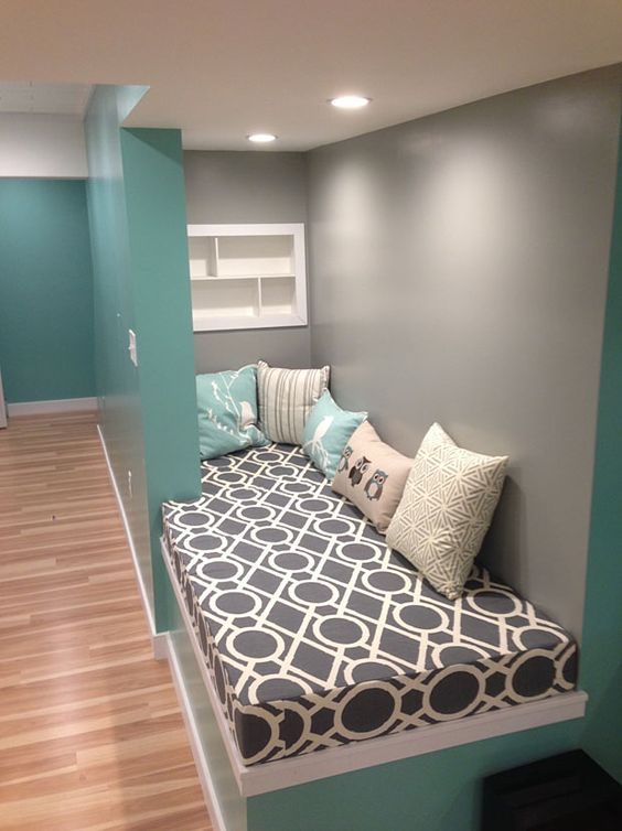 Customer 39 s cozy turquoise and gray basement reading nook for Reading nook cushion