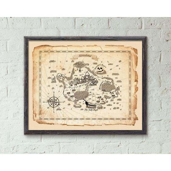Neverland Peter Pan Map Wall Decor, Peter Pan Art Prints, Neverland... ($25) ❤ liked on Polyvore featuring home, home decor, wall art, map home decor and map wall art